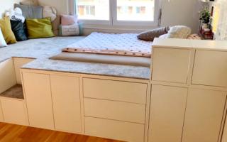 Идеи вашего дома: Замечательная идея быстрого создания большой кровати с помощью мебельных модулей IKEA
