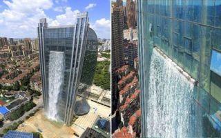 Архитектура: В Китае создали водопад, стекающий прямо по поверхности небоскреба