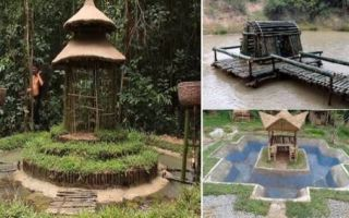 Архитектура: Ребята при помощи грязи и палок, используя примитивный инструмент, построили себе дом и бассейн