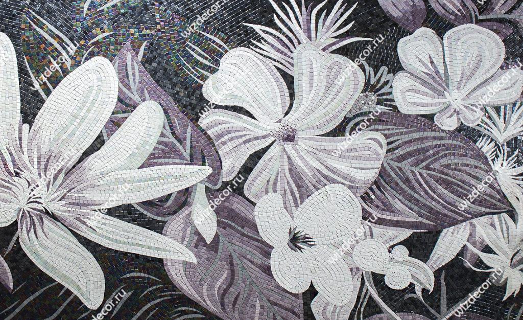 Плитка мозаика для ванной цветочный мотив
