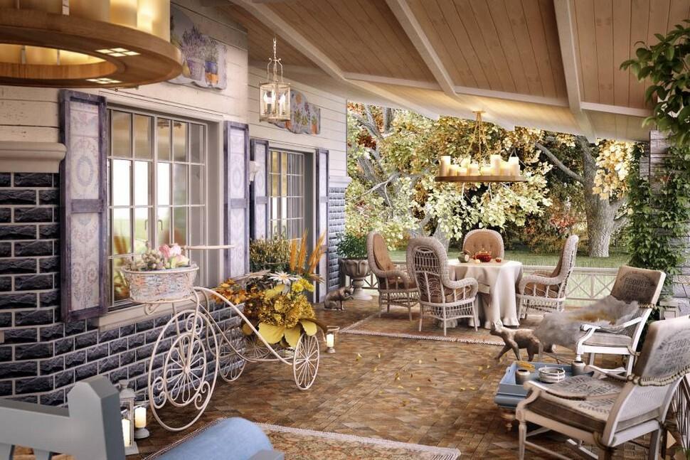 Дизайн интерьера загородного дома в стиле Прованс фото